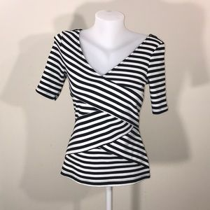 Black and white striped work blouse size m candies